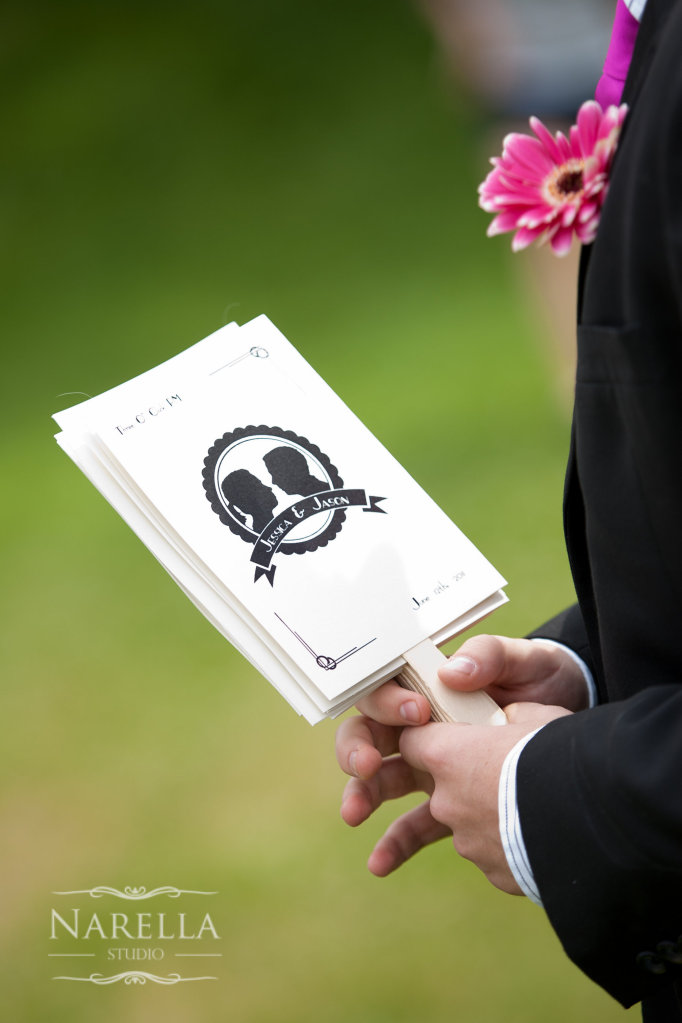 Keep your guests cool with a wedding program that doubles as a fan