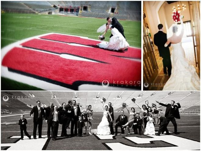 university-of-wisconsin-madison-badgers-bride-groom-bridal-party-pose-on-football-field__full