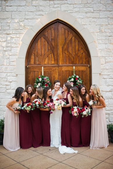 Coordinating marsala with a neutral bridesmaid dress creates a very photo pleasing bridal party.