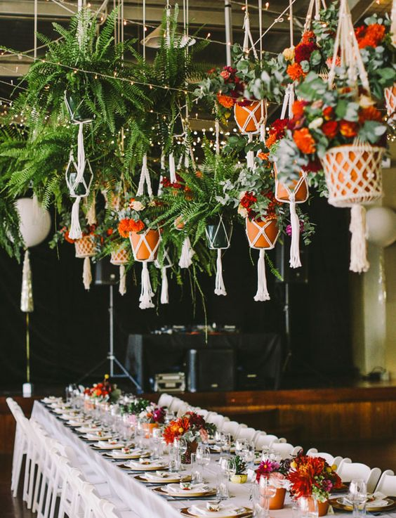 Hanging-macrame-planters-wedding-decor